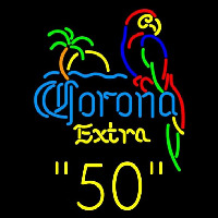 Corona E tra Parrot with Palm 50 Beer Sign Neon Sign