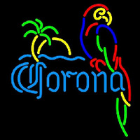 Corona Parrot with Palm Beer Sign Neon Sign