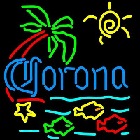 Corona Tropical Fish w Palm Tree Beer Sign Neon Sign