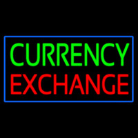 Currency E change Blue Border Neon Sign