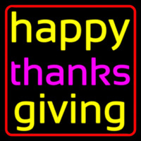 Cursive Happy Thanksgiving 2 Neon Sign