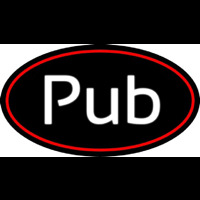 Cursive Pub Oval With Red Border Neon Sign