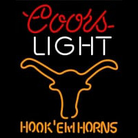 Custom Coors Light Logo Texas Longhorns Hook Em Horns Neon Sign Neon Sign