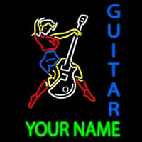 Custom Guitar Logo And Blue Guitar Neon Sign