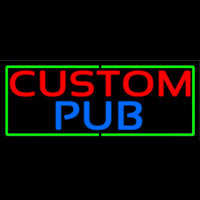 Custom Pub With Green Border Neon Sign