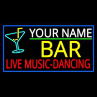 Custom Red Live Music Dancing Yellow Bar And Blue Border Neon Sign