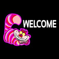 Custom Welcome With Smiley Cat 1 Neon Sign
