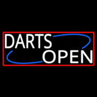 Darts Open With Red Border Neon Sign