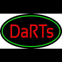 Darts Oval With Green Border Neon Sign
