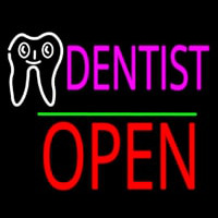 Dentist Logo Block Open Green Line Neon Sign