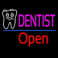Dentist Tooth Logo Open Neon Sign