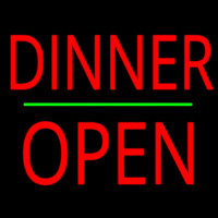 Dinner Block Open Green Line Neon Sign
