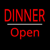 Dinner Open White Line Neon Sign