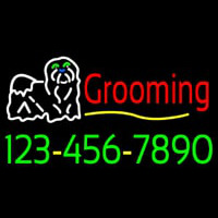 Dog Logo Grooming Phone Number Neon Sign