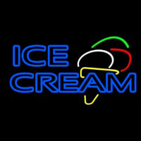 Double Stroke Blue Ice Cream Cone Neon Sign