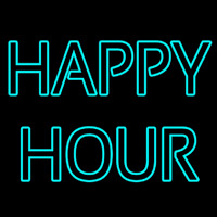 Double Stroke Happy Hour Neon Sign