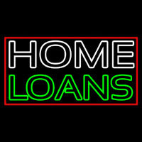 Double Stroke Home Loans With Red Border Neon Sign