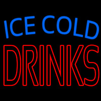 Double Stroke Ice Cold Drinks Neon Sign