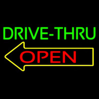 Drive Thru Open With Arrow Neon Sign