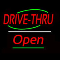 Drive Thru Open Yellow Line Neon Sign