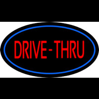 Drive Thru Oval Blue Neon Sign