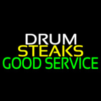 Drum Steaks Good Service Block 1 Neon Sign