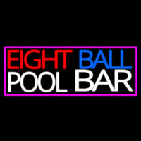 Eight Ball Pool Bar With Pink Border Neon Sign