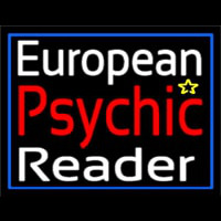 European Psychic Reader With Blue Border Neon Sign