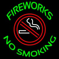 Fire Works No Smoking With Logo Neon Sign