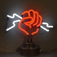 Fist with Lightning Desktop Neon Sign
