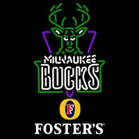 Fosters Milwaukee Bucks NBA Beer Sign Neon Sign