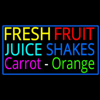 Fresh Fruit Juice Carrot Orange Shakes Neon Sign