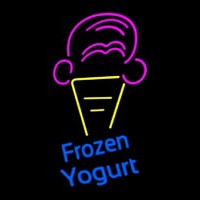 Frozen Yogurt Blue Ltrs With Cone Logo Neon Sign