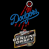 Genuine Draft Los Angeles Dodgers MLB Beer Sign Neon Sign