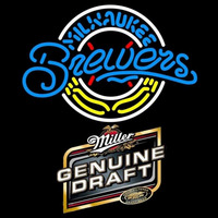 Genuine Draft Milwaukee Brewers MLB Beer Sign Neon Sign