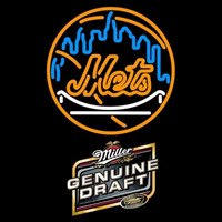 Genuine Draft New York Mets MLB Beer Sign Neon Sign