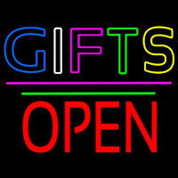 Gifts Block Open Pink Line Neon Sign