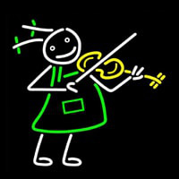 Girl Playing Violin Neon Sign