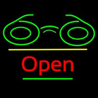 Glasses Logo Open Yellow Line Neon Sign