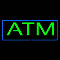 Green Atm Blue Border Neon Sign