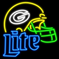 Green Bay Packers Miller Lite Helmet Real Neon Glass Tube Neon Signs Neon Sign