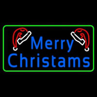 Green Border Merry Christams With Hat Neon Sign