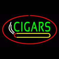 Green Cigars Logo Red Oval Neon Sign