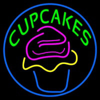 Green Cupcakes With Cupcake Neon Sign
