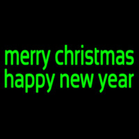 Green Merry Christmas Happy New Year Neon Sign