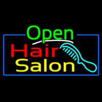 Green Open Hair Salon With Blue Border Neon Sign