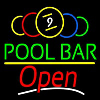 Green Pool Bar Open Neon Sign