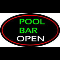 Green Pool Bar Open Oval With Red Border Neon Sign