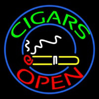 Green Round Cigars Open Neon Sign