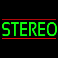 Green Stereo Block Red Line 2 Neon Sign